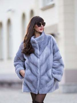 Woman's Genuine Mink Fur Coat - Grey
