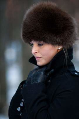 Geniune Round Fox Fur hat in brown
