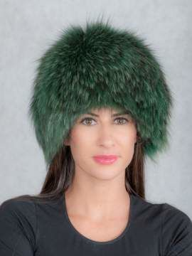 Genuine Raccoon Dog Fur Round Hat