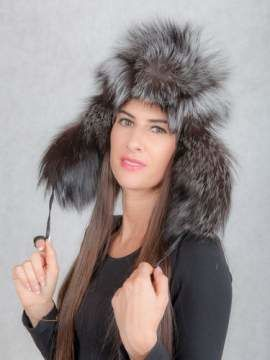 Women's Fox Fur Trapper Hat in Silver/Black