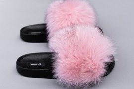 Fashion Fur Sildes With Genuine Fox Fur