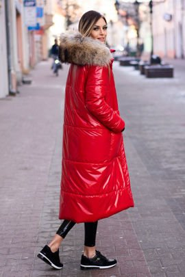 Fur lined Parka Jacket with Genuine Raccoon Fur dyed in Salmon Pink