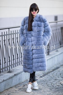 Genuine Fox Fur Coat in Violet