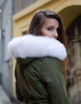 Genuine Fox Fur Hood Band in White