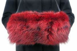 Genuine Fox Fur Muff in Red