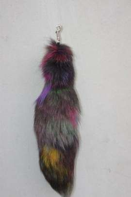 Genuine Fox Fur Pendant in Red
