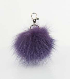 Genuine Rabbit Fur Pendant in Violet