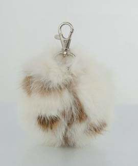 Genuine Rabbit Fur Pendant in White - Ginger