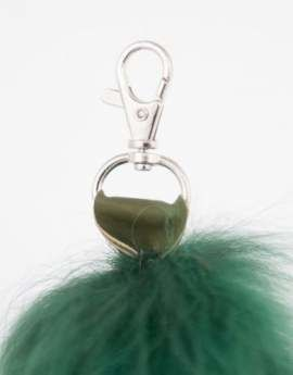 Genuine Raccoon Dog Fur Pendant in Green