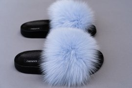 Ladies Fox Fur Slides Fashion Sandals