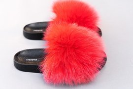 Ladies Fox Fur Slides Summer Sandals
