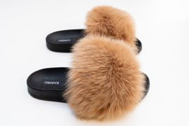 Ladies Fur Slides in Cappucino, Sandals with Genuine Fox Fur
