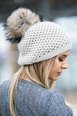 Ladies Winter Beanie Hat with genuine Fur pompom