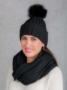 Ladies winter Set Hat and Loop with real fur pom poms