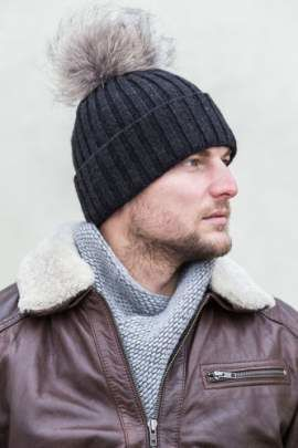 Man's Woollen Cap with Genuine Raccoon Dog Fur Pom-Pom