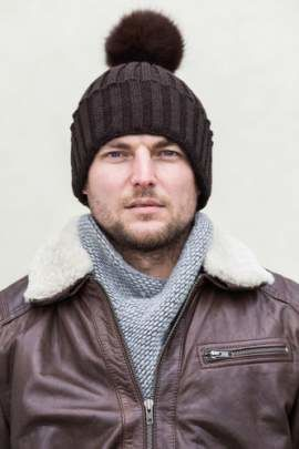 Man's Woollen Cap with Natural Fox Fur Pom-Pom