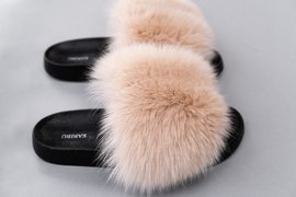 Top Fashion Beige Fur Slides, Sandals with Genuine Fox Fur