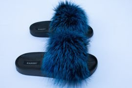 Women's Baby Pink Fur Slides, Sandals with Genuine Fox Fur