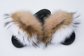 Women's Beige Fur Slides, Sandals with Beige Fox Fur