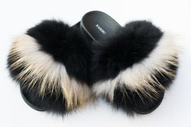 Women's Black Fur Slides, Sandals with Genuine Fox Fur