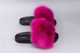 Women's Fur Slides With Genuine Fur