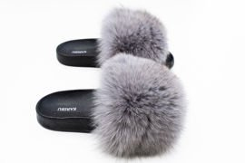 Women's Grey Fur Slides, Sandals with Genuine Fox Fur