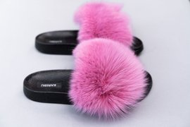 Women's Pink Fur Slides, Sandals with Genuine Fox Fur