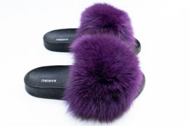 Women's Purple and White Fur Slides, Sandals with Genuine Fox Fur