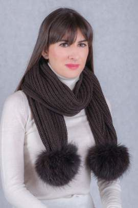 Wool scarf with raccoon fur pompoms