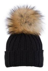 Czapki wełniane, czapka z futrzanym pomponem Odzież damska